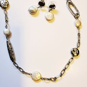 Brighton pearl chain and pebble necklace & earring